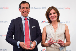 Best Cash Management Solution, Highly Commended – Photo of Fabio Monico, Bank of America Merrill Lynch and Maria Isabel Loria, José Cuervo.