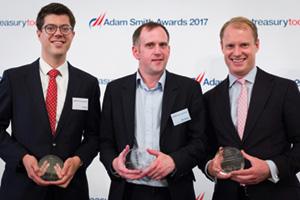 Best Cash Management Solution, Highly Commended – Photo of Arn Knol, Zanders, Philip Stewart, British American Tobacco and Paul Greenhalgh, Deutsche Bank.