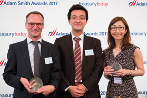 Best Liquidity Management Solution, Highly Commended – Photo of Stan Blykers and Koji Minami, Toyota Motor Europe and Yuki Ohashi, Citi.