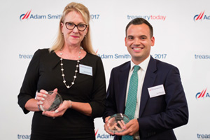 Best Liquidity Management Solution, Highly Commended – Photo of Sheri Mossbeck, Leggett & Platt and Tom Murphy, Bank of America Merrill Lynch.
