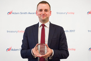 Best Working Capital Management Solution, Highly Commended – Photo of Chris Jameson, Bank of America Merrill Lynch collects the award on behalf of Walmart.