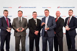 Best AR Solution, Winner – Photo of Simon Jones, J.P. Morgan, David Baxter, ACI Worldwide, Rick Noble, Jeff Hammer and Nate Sass, Anthem, Inc. and Chris Jameson, Bank of America Merrill Lynch.