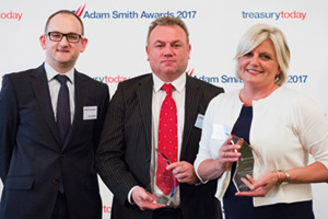 Best Trade/Supply Chain Finance Solution, Winner – Photo of Peter Jameson, Bank of America Merrill Lynch, Henry Byrne and Jayna Bundy, Microsoft.