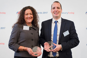 Best Trade/Supply Chain Finance Solution, Highly Commended – Photo of Melanie Girouard, Citi and Benedikt Zimmermann-Kuehne, Kuehne + Nagel.