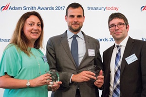 Best Card Solution, Highly Commended – Photo of Helen Hanby, Biogen, Marco Buzzi, Bank of America Merrill Lynch and Steve Green, Biogen.