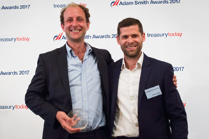 Best Foreign Exchange Solution, Highly Commended – Photo of Thomas Leitch, TreasuryXpress and Alistair Cotton, Clearsettle.