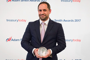 Best Foreign Exchange Solution, Highly Commended – Photo of Benjamin Gilbert, Citi collects the award on behalf of Diageo.