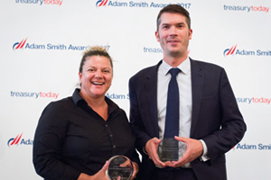 Best Risk Management Solution, Highly Commended – Photo of Tasja Botha, OpenLink and Ben Jackson, Etihad Aviation Group.