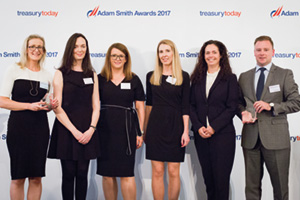Harnessing the Power of Technology, Winner – Photo of Trish Smith, Kelli-Ann Sweeney, Edel Brennan, Miriam Brosnan and Elaine Ward-Bopp, Goshawk Aviation Limited and David Nugent, Citi.