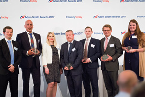 Harnessing the Power of Technology, Highly Commended – Photo of Bradley Gains, Parv Gill, Lucy Rideout, UPS, Steve Hall, J.P. Morgan, Edward Hebblethwaite, Standard Chartered, Michiel Radder, BNP Paribas and Hollie Starkey, Reval.