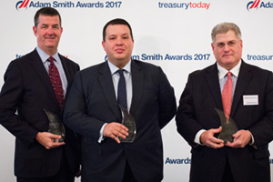 Best in Class Treasury Solution in the Middle East, Winner – Photo of Roger Fleischmann, J.P. Morgan, Adam Boukadida, Etihad Aviation Group and Michael Guralnick, Citi.