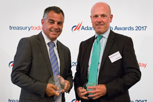 Best in Class Treasury Solution in the Middle East, Highly Commended – Photo of Graham Pepe, Emirates Airlines and John Murray, Citi.