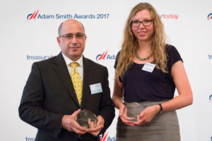 Best in Class Treasury Solution in the Middle East, Highly Commended – Photo of Ali Sabry, Aldar Properties PJSC and Sarah Campbell, EY.