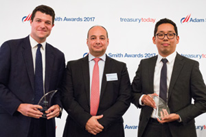 Best in Class Treasury Solution in Africa, Winner – Photo of Geoff Gursel, Citi, Hadi El-Amaary and Tenzing Bomratsang, ABB.