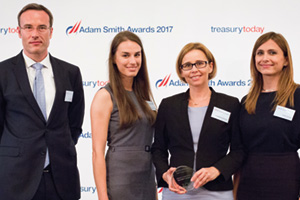 Best SWIFT Solution, Highly Commended – Photo of Zoltan Szucs, Nora Nemes, Zsuzsanna Ortutay and Anett György, MOL plc.