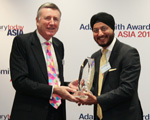 Photo of Harjeet Kohli, Bharti Airtel accepting award